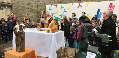 Bénédiction de l'école Saint Melec à Plumelec